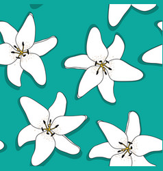 Abstract hand drawn lilly flower seamless pattern vector