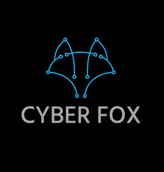 abstract line art cyber fox design template vector image