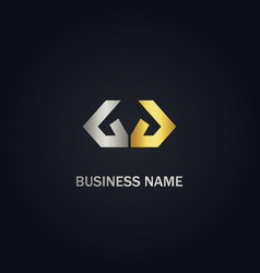 abstract shape line colored company gold logo vector image