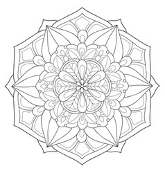 adult coloring bookpage a zen mandala image vector image