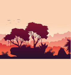 At morning jungle landscape collection vector