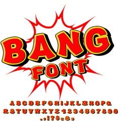 Bang font Comic alphabet Bright cartoon ABC Red vector