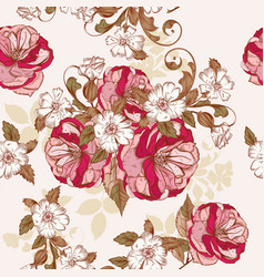 beautiful background with hand roses flowers vector image