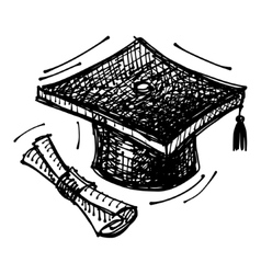 Black sketch drawing of cap of masters degree vector