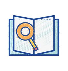 Book with magnifying glass and paper page vector