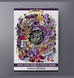 cartoon hand drawn doodles disco music poster vector image