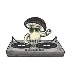 Cartoon mushroom dj sketch vector