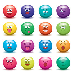 cartoon set of funny fruit jelly faces on white vector image