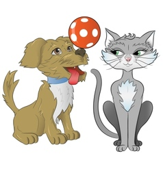 Cat and dog playing together vector