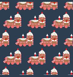 christmas gingerbread train seamless vector image