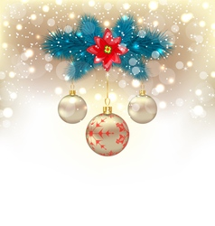 Christmas gliwing background with fir branches vector image