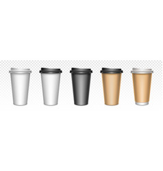 coffee cups with closed lids packaging mockup vector image