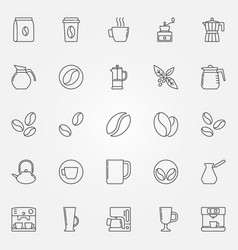 coffee icons set - symbols in thin line vector image
