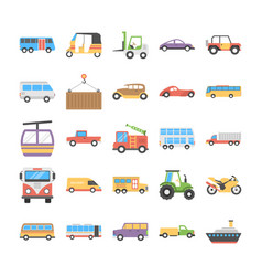 Colorful flat icons set of transport vector