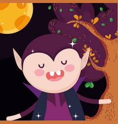 count dracula cartoon tree halloween vector image
