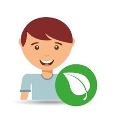 cute boy eco leaf natural icon vector image
