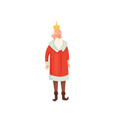 cute old royal king with white beard and red vector image
