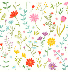 Cute seamless floral pattern with spring flowers vector