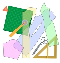 Cutting clothes items vector image