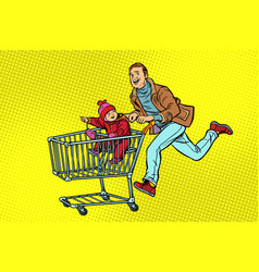 dad and son are on sale shopping cart shop vector image