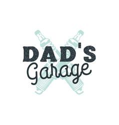 dad garage logo badge with plug sparks autorepair vector image