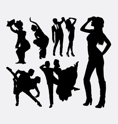 Dancer traditional and modern style silhouette vector