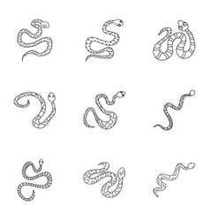 Dangerous snake icon set outline style vector