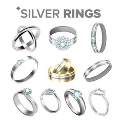 different bright silver metallic rings set vector image