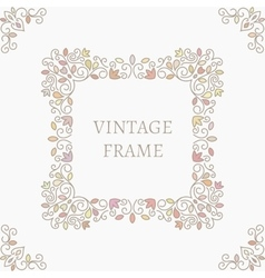 Elegant retro varicolored floral square frame vector