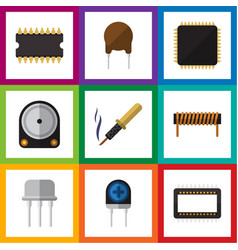 Flat icon technology set of transducer resist vector