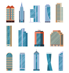 flat skyscrapers modern city tall buildings vector image