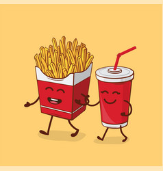 Friends forever fries and cola vector