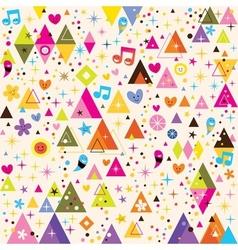 Fun triangles funky cartoon retro pattern vector