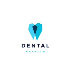 geometric dental logo icon overlapping style vector image