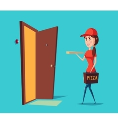Girl worker in cap delivering pizza to door vector