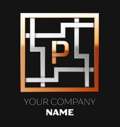 golden letter p logo symbol in the square maze vector image
