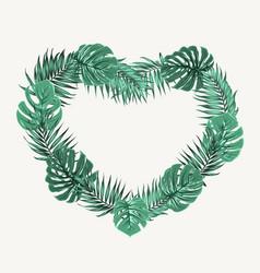 Heart shape border frame green tropical leaves vector