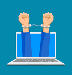 human hands in handcuffs from a laptop monitor vector image