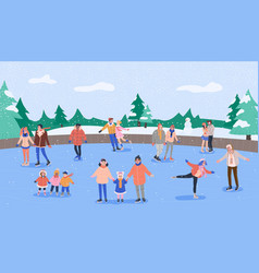 Ice rink with smiling people skating vector
