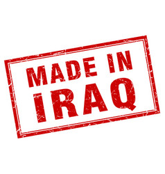 Iraq red square grunge made in stamp vector