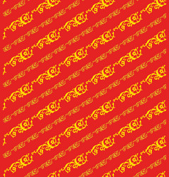 Korean traditional red plant pattern background vector