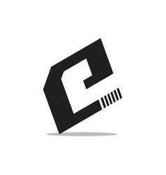 letter e simple geometric square logo vector image