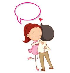 loving couple with speech balloon vector image