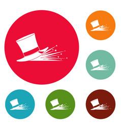 magic hat icons circle set vector image