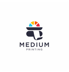 medium printing colorful logo template vector image
