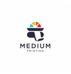 Medium printing colorful logo template vector