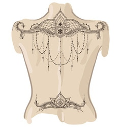 Mehndy flowers tattoo template Tattoo on her back vector image