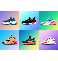 New fitness sneakers set fashion shoes for vector