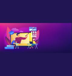Online learning for seniors concept banner header vector