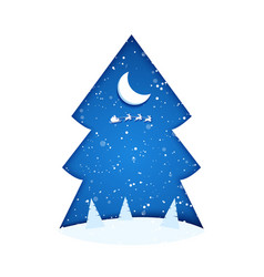 paper cut trees and moon in snowy christmas tree vector image